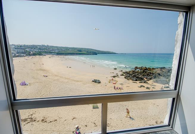 View over Porthmeor from Sitting Room.
