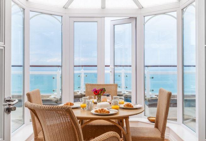 Conservatory with fabulous sea views.