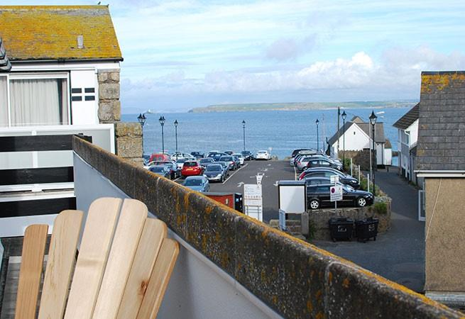 Good size balcony off the sitting room with views to Godrevy Lighthouse.