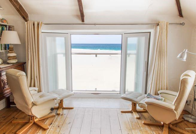 Superb sea views over Porthmeor beach from sitting room.
