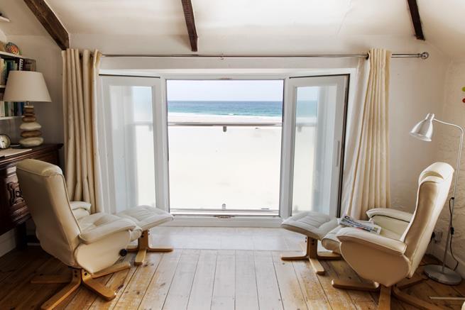 Superb sea views over Porthmeor beach from sitting room.