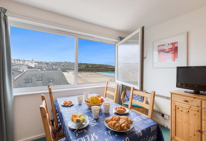 Views of Porthmeor beach from the dining area.