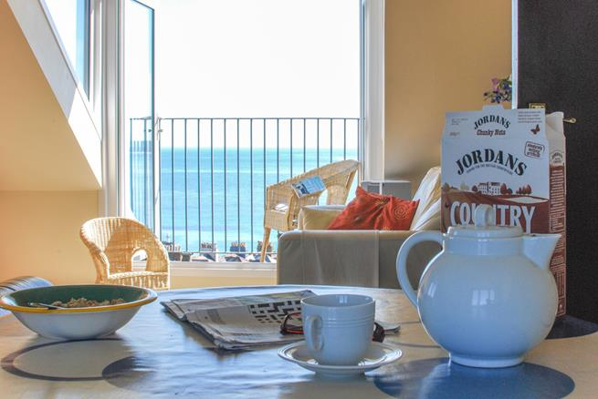 Breakfast with a view from the living room.