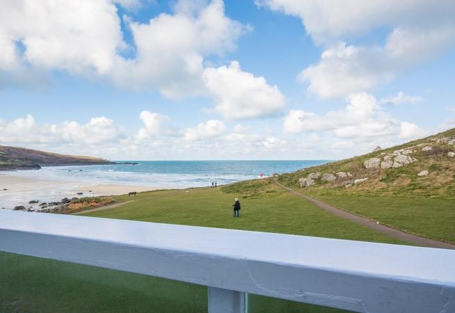 Superb views over The Island and sea from the balcony.