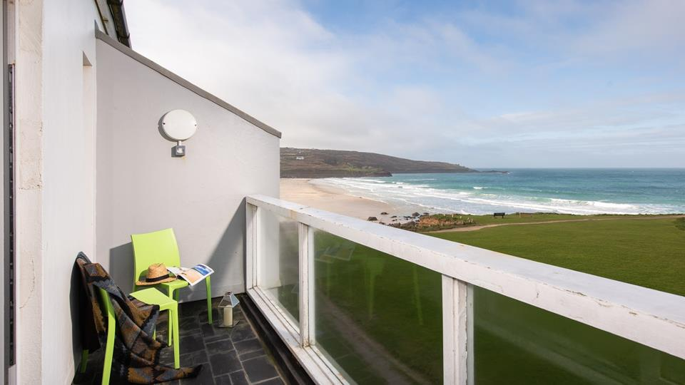 The private balcony from which you can see the beautiful Porthmeor Beach, grab morning coffee and listen to the waves crash against the rocks.