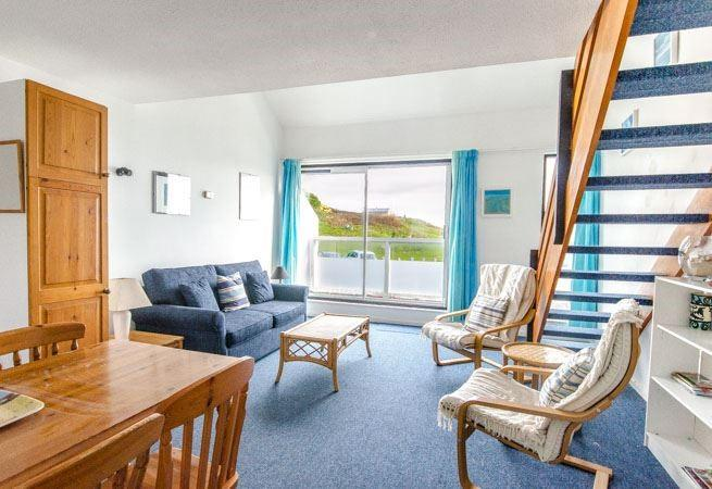 Superb views over The Island and sea to Godrevy Lighthouse from the sitting room and balcony.