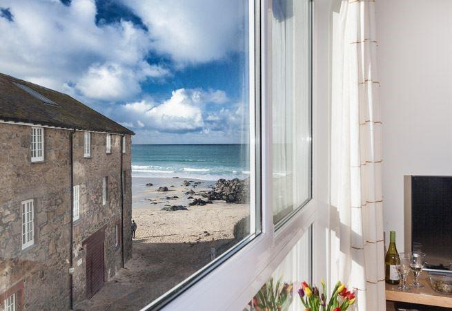 Views from living room window onto Porthmeor slipway, ideal for wave watching!