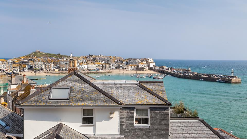 View from the decked terrace over St Ives town and the Harbour.