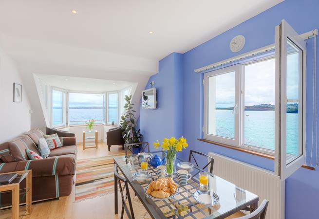 Beautiful sea views out across towards Gwithian from the open plan living/kitchen area.