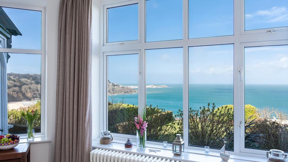 Outstanding views across to St Ives and Carbis Bay beach.