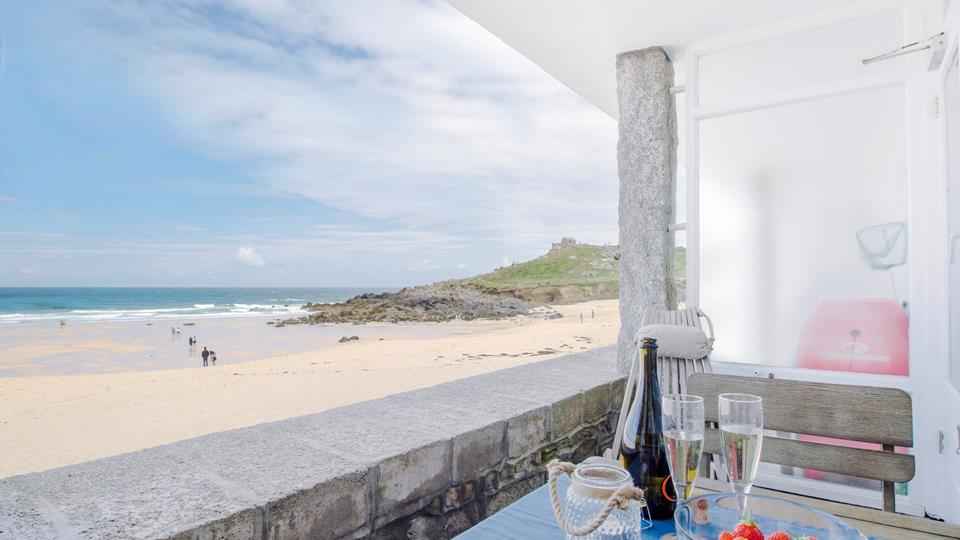 Uninterrupted views over Porthmeor from the private balcony.