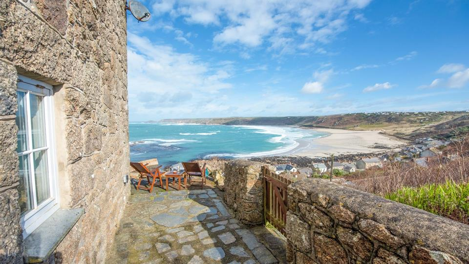 This stunning house overlooks Sennen Cove and village.
