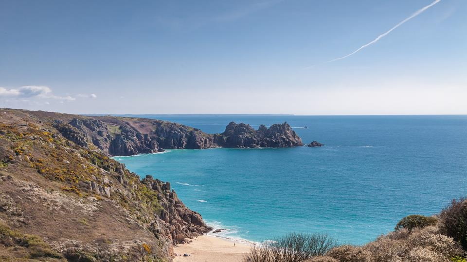 The view of Porthcurno beach from Ocean View 2.