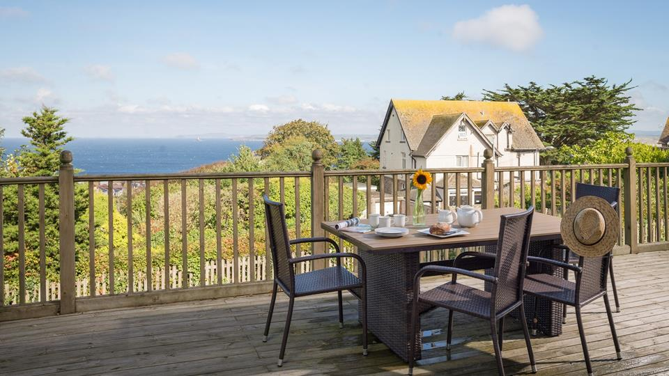The decking area has one of the best views in St Ives, perfect for al fresco dining.