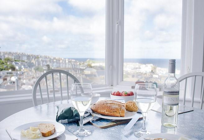 Superb sea views from the sitting/dining area.