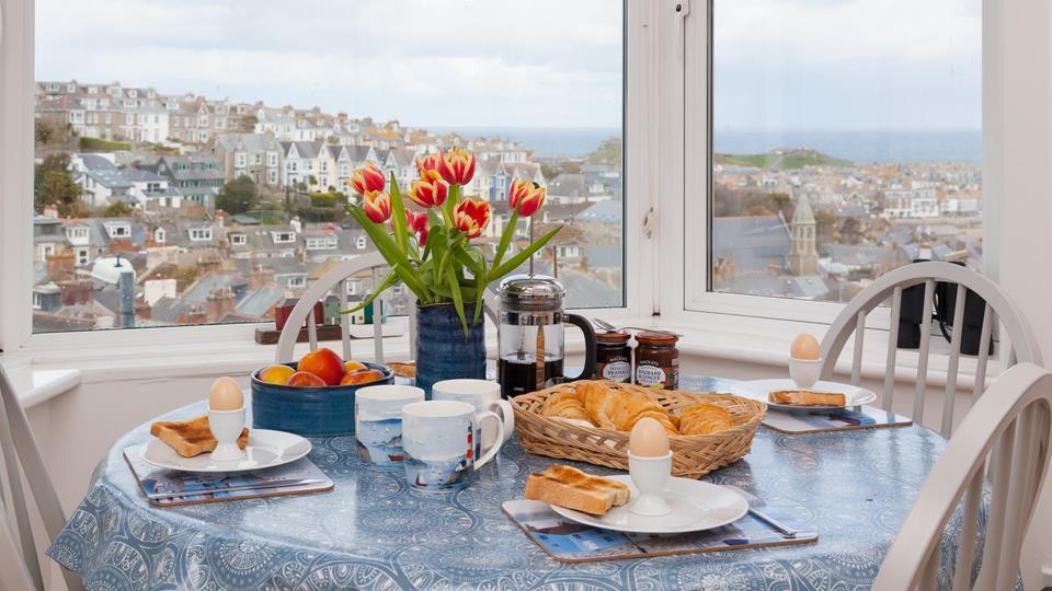 Enjoy the superb sea views over breakfast.