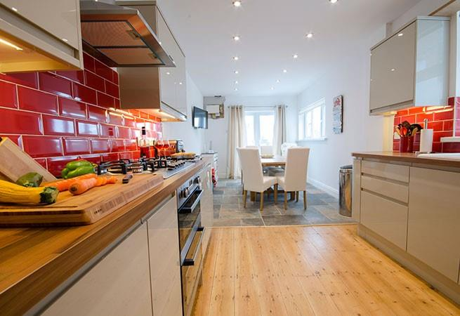 Thoroughly modern open plan kitchen and dining room.