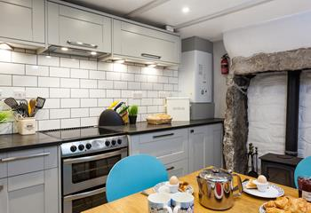 The basement kitchen has everything you need to cook up a feast.