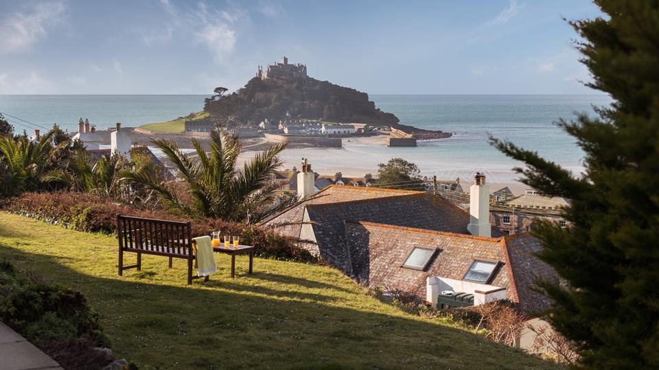 Stunning views across Marazion, sit in the sun and catch the morning rays.