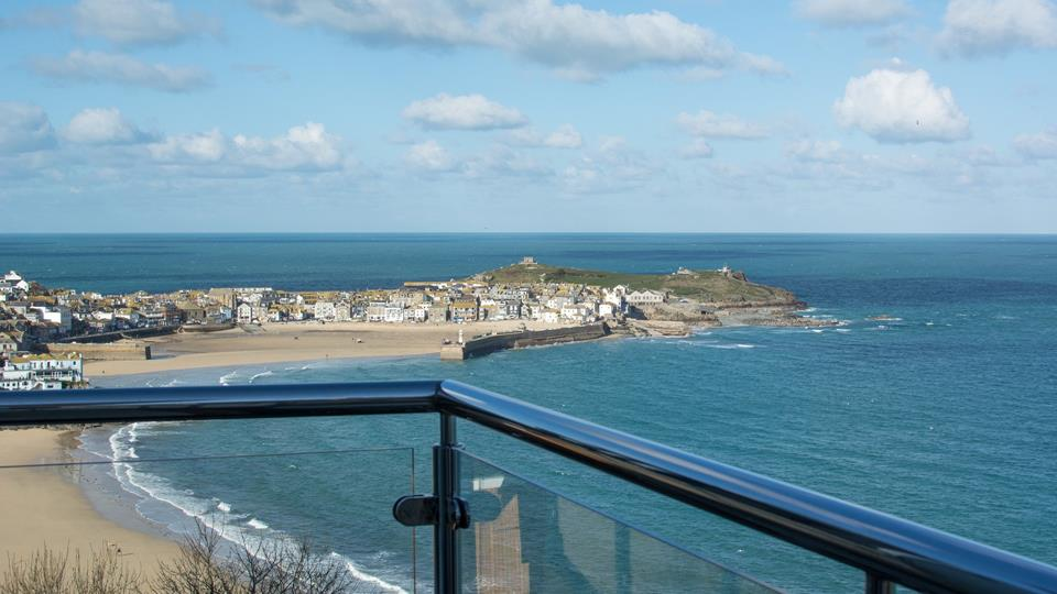 Stunning views over St Ives from the private balcony.