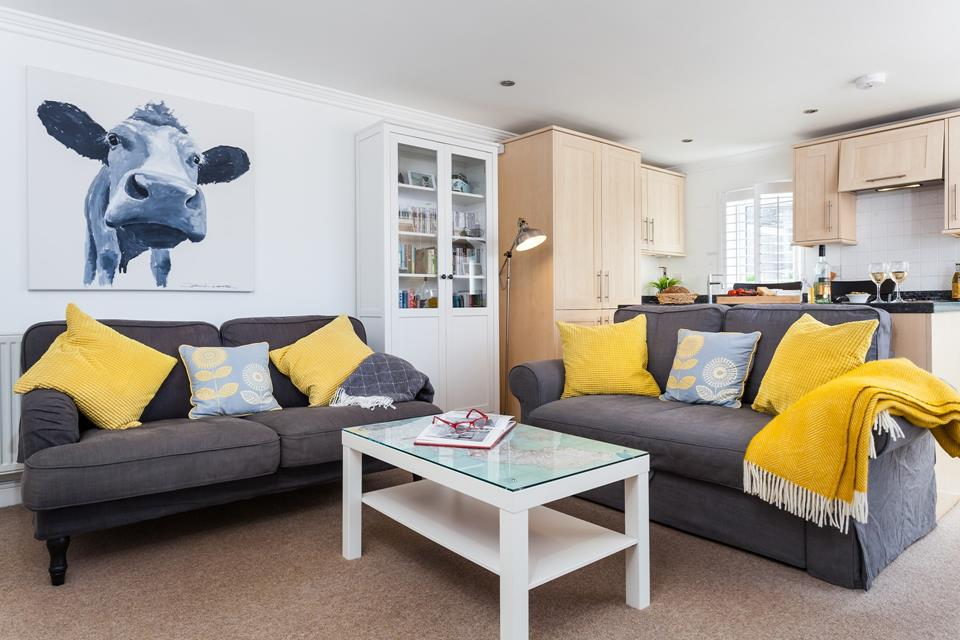 Bright and airy open plan living area.