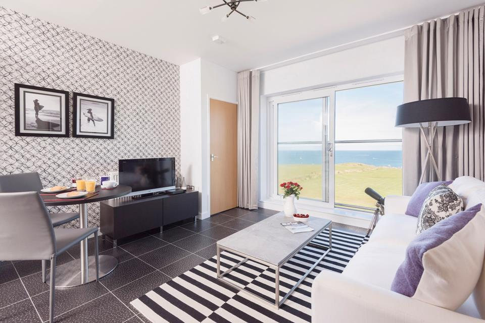 On the third floor Atlantic Breeze is a modern apartment with views from the Juliet balcony across the north coast.