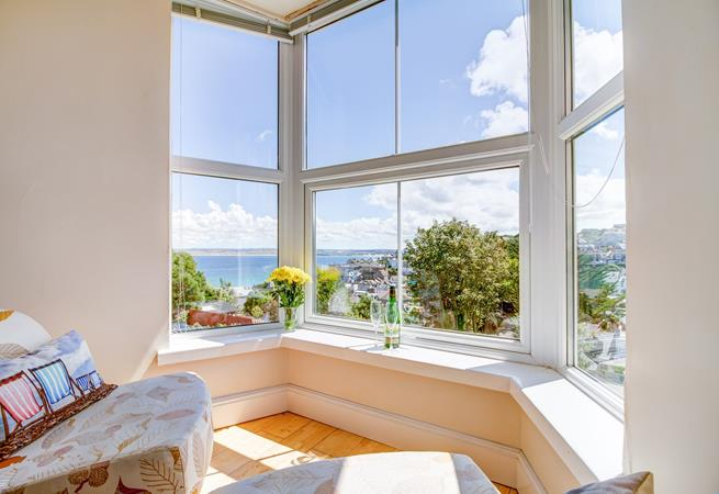 Breathtaking views over St Ives Bay and the harbour beach from the sitting room.