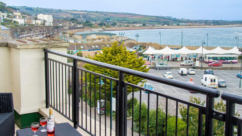 The private terrace looks out across Mounts Bay.