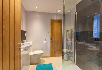 Next to the bedroom, you'll find an enclosed walk-in shower, WC and basin.