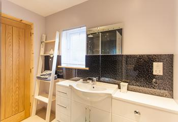 Get ready for your Cornish adventures in the spacious shower room.