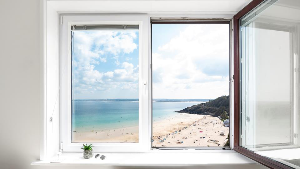 The property offers exquisite views over Porthminster beach.