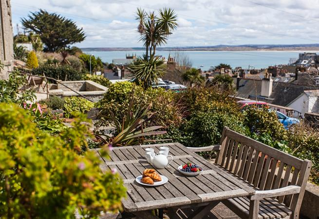 Glorious sea views from the sunny terraced area to the front of the house.