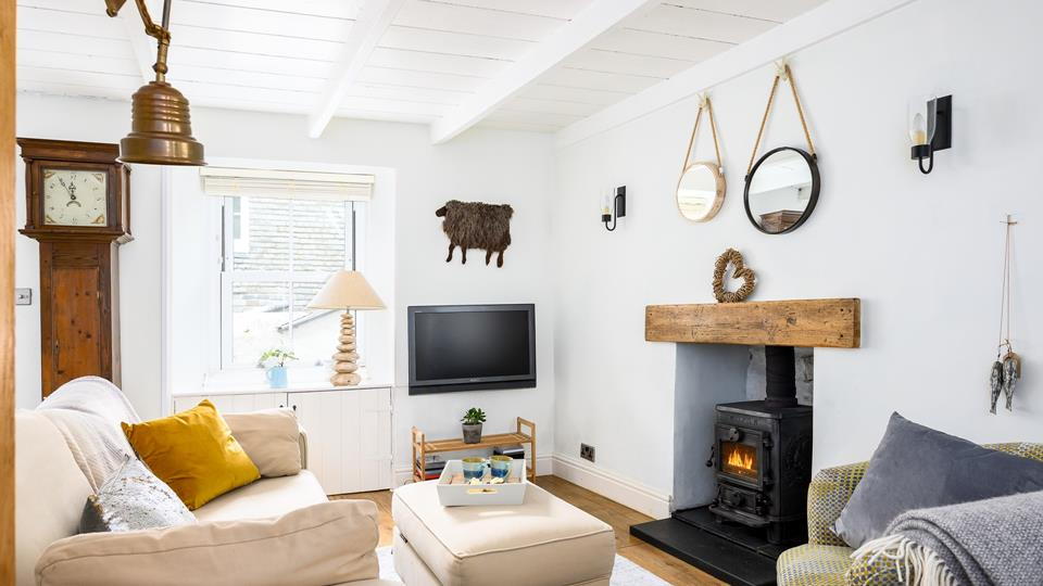 Sitting area with a woodburner - perfect for the colder months!