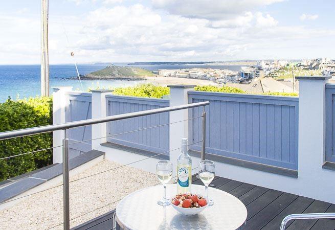 Gorgeous sun terrace with stunning views across Porthmeor.