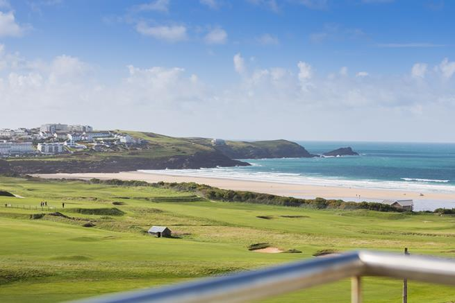 View from the balcony over Fistral Beach.