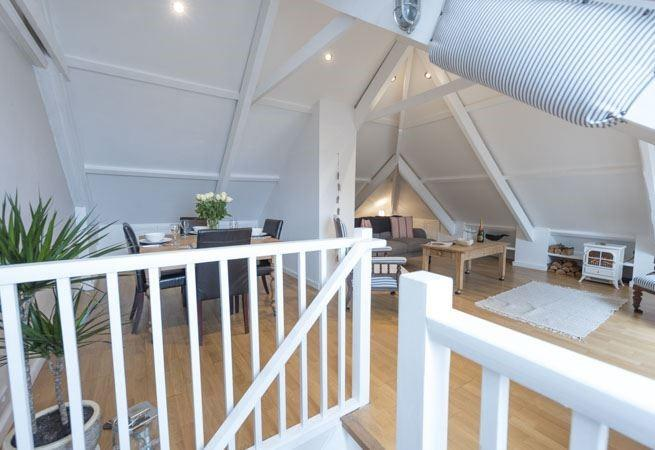 The open plan loft style upstairs!
