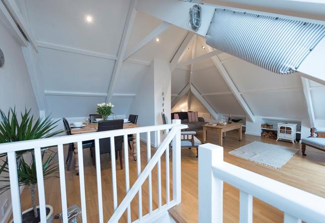 The open plan loft style upstairs!