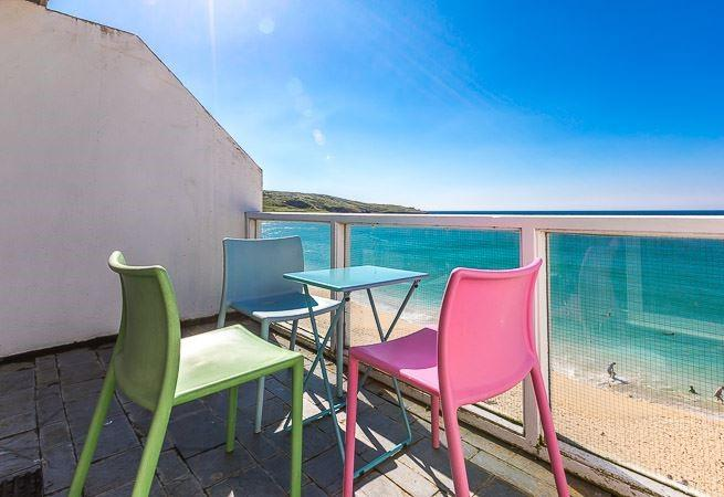 Balcony off of sitting room over looking Porthmeor beach.