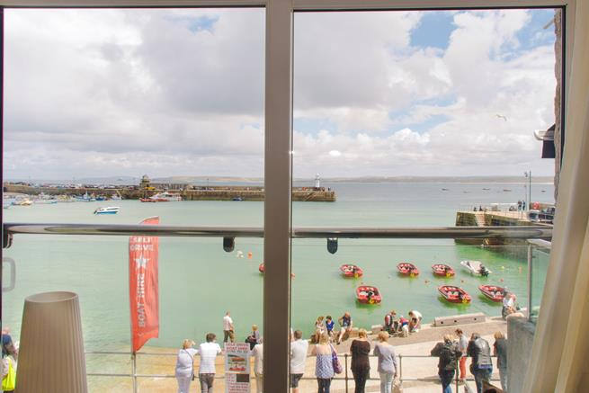 View out across the harbour and beyond.