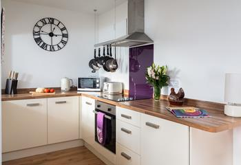 The modern kitchen is well-equipped so why not pick up some local produce and cook yourself something delicious!