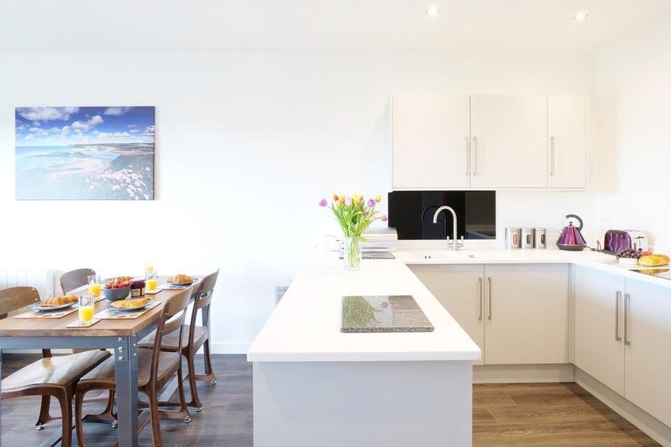 Open plan kitchen/dining area.