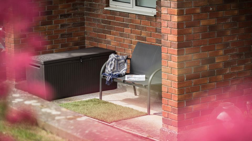 Outside seating creates a quiet space to get away from everyday life and enjoy a good book.
