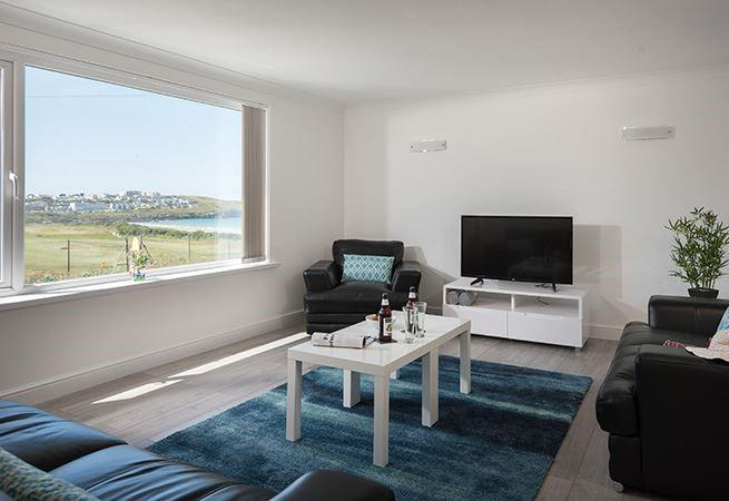 The sitting area has fabulous views of Fistral and Newquay golf course