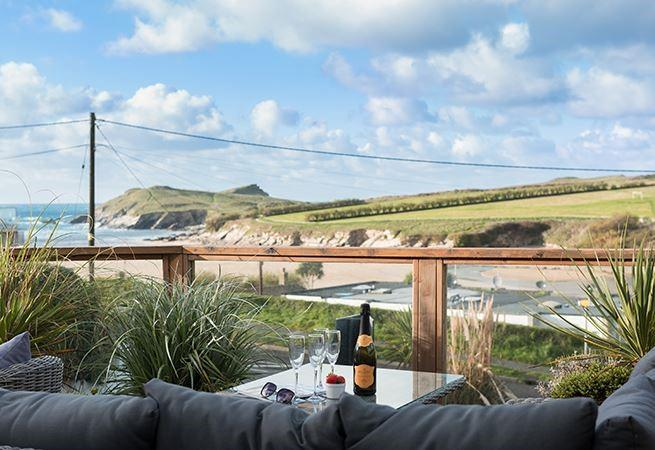 The sun deck has views of Porth beach and surrounding headland.