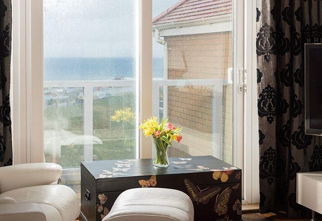 Sea views over Towan headland from the living area.