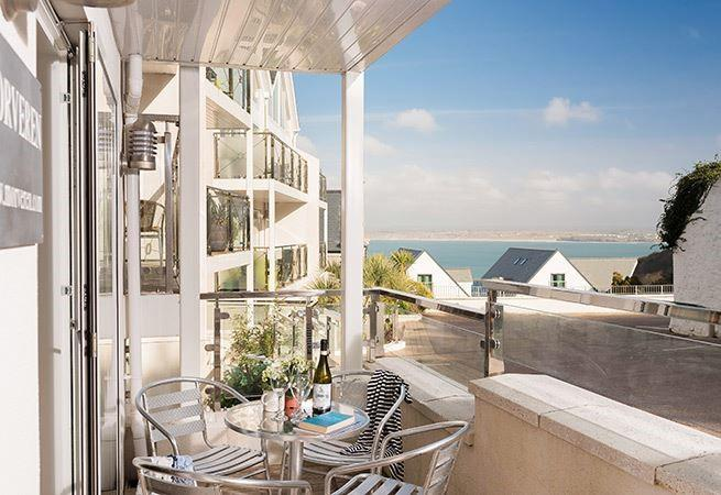 The patio area has lovely sea views and once inside the apartment is all on one level. But is accessed via two flights of stairs.