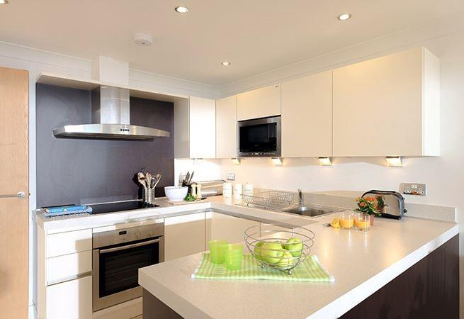 Bright well-equipped kitchen.