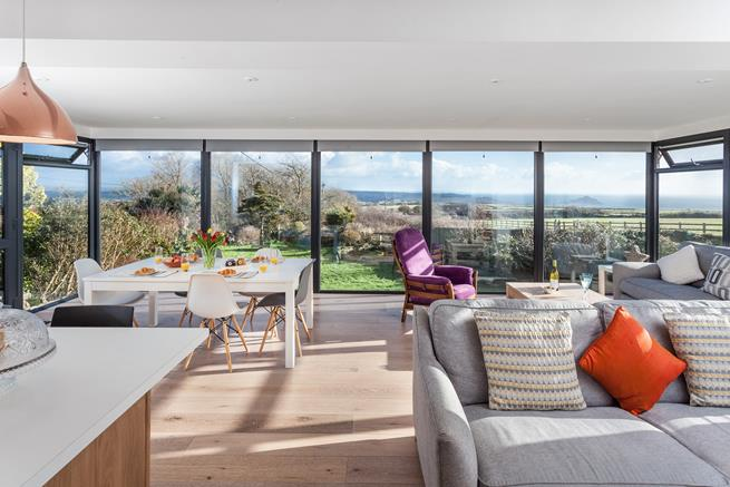 Gorgeous open plan living area, with sea views.