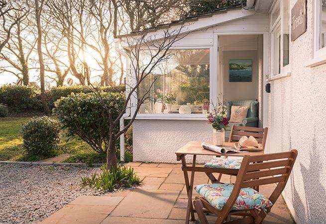 The morning sun can be enjoyed at the front of the house.