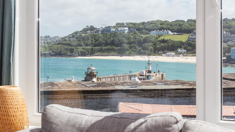 Birdseye view across the St Ives Harbour and beach form the sitting room.